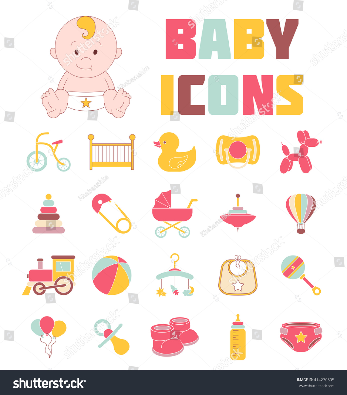 Baby Icons Kids Logos Newborn Baby Stock Vector
