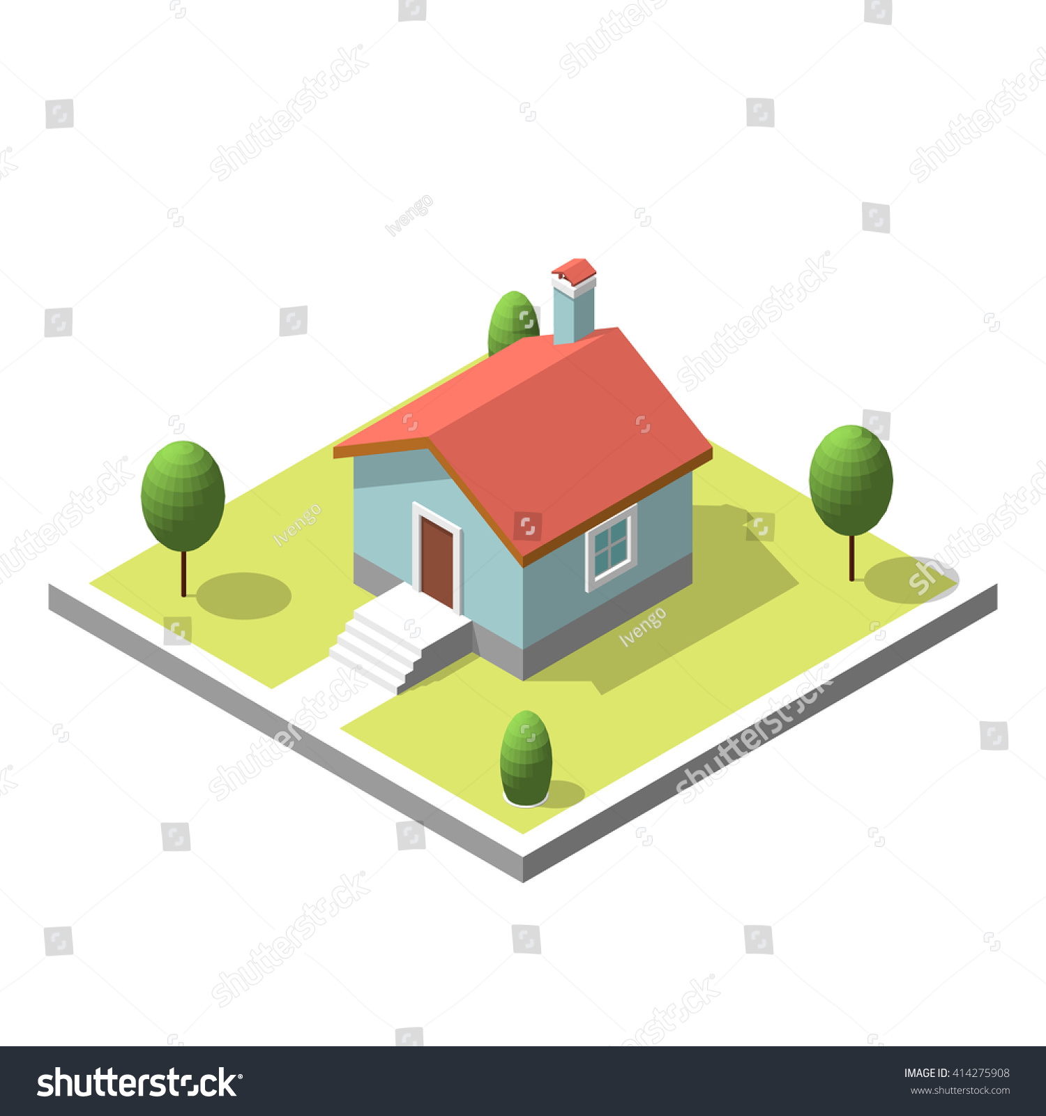 Isometric Building Flat Style Vector Illustration Stock