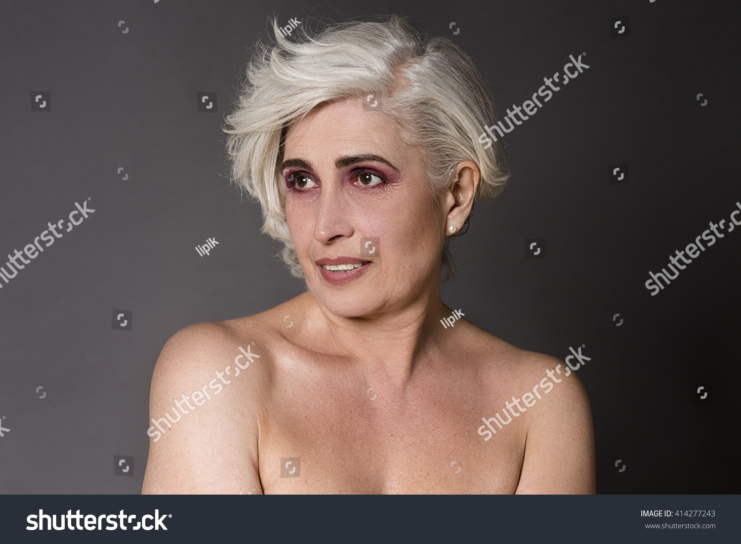 royalty-free portrait of nude old woman - head and… #414277243 stock