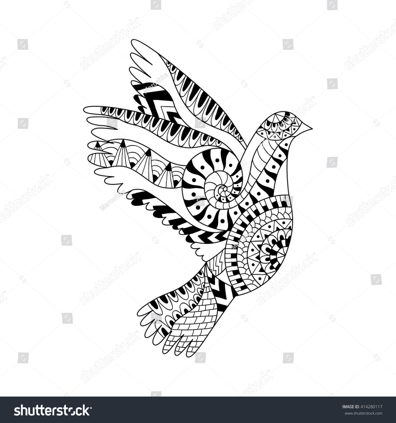 Hand Drawn Flying Dove Adult Anti Stock Vector 414280117