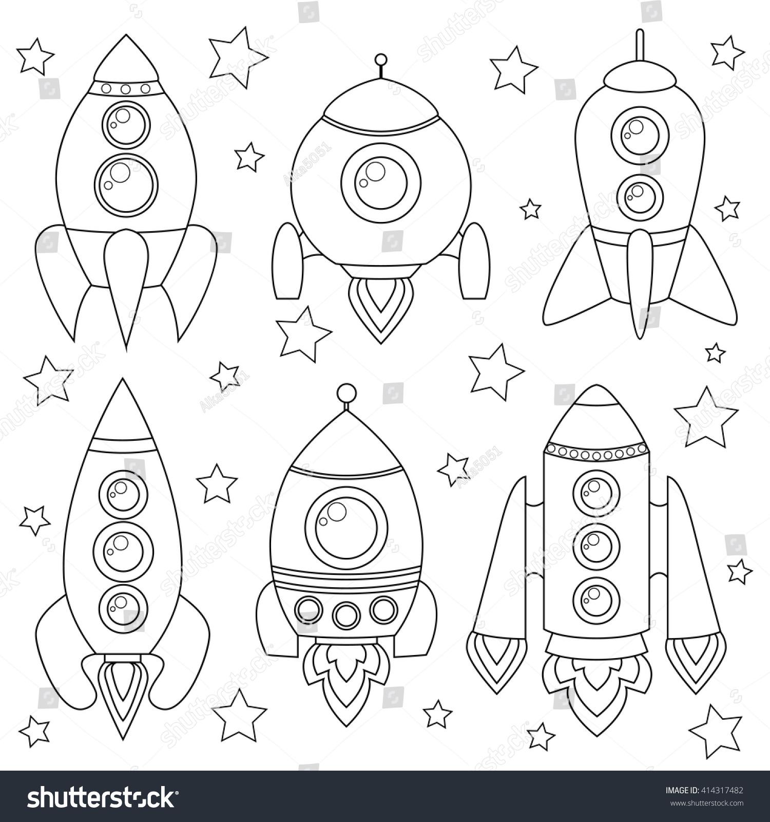 cartoon spaceship black white illustration coloring stock vector