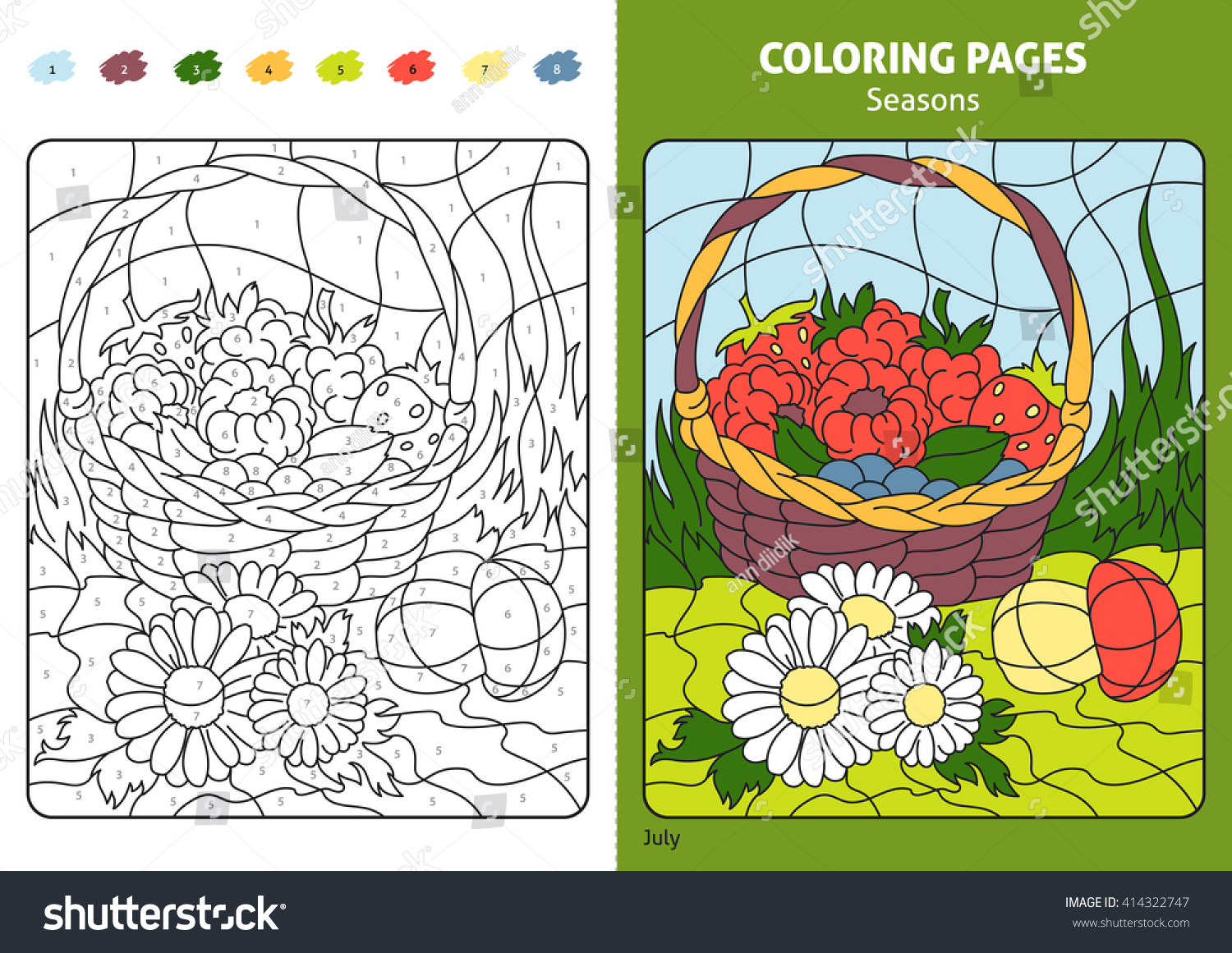 Seasons Coloring Page Kids July Month Stock Vector HD (Royalty Free ...