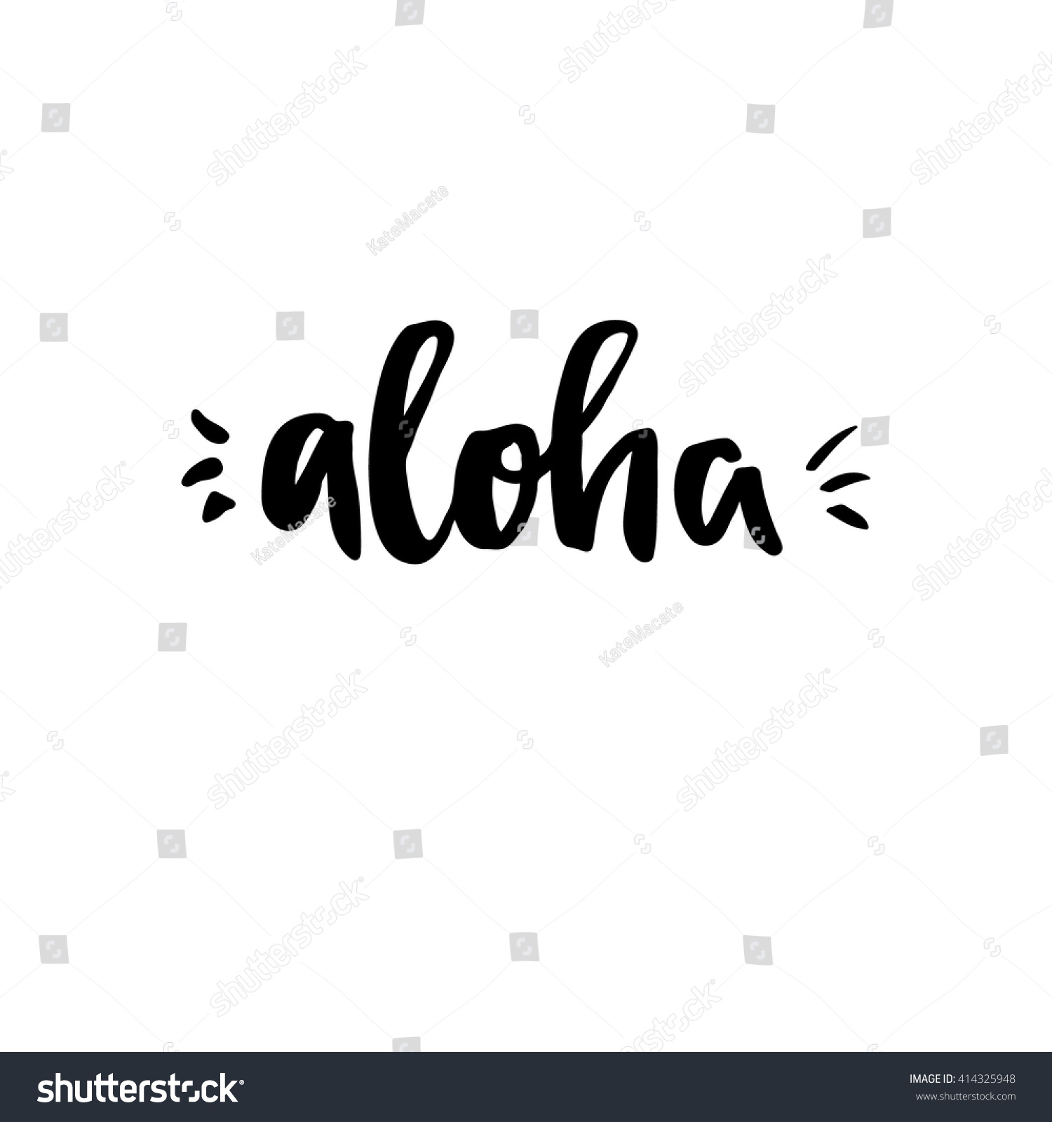 Hand Lettering Vector Illustration Aloha Perfect Stock Vector