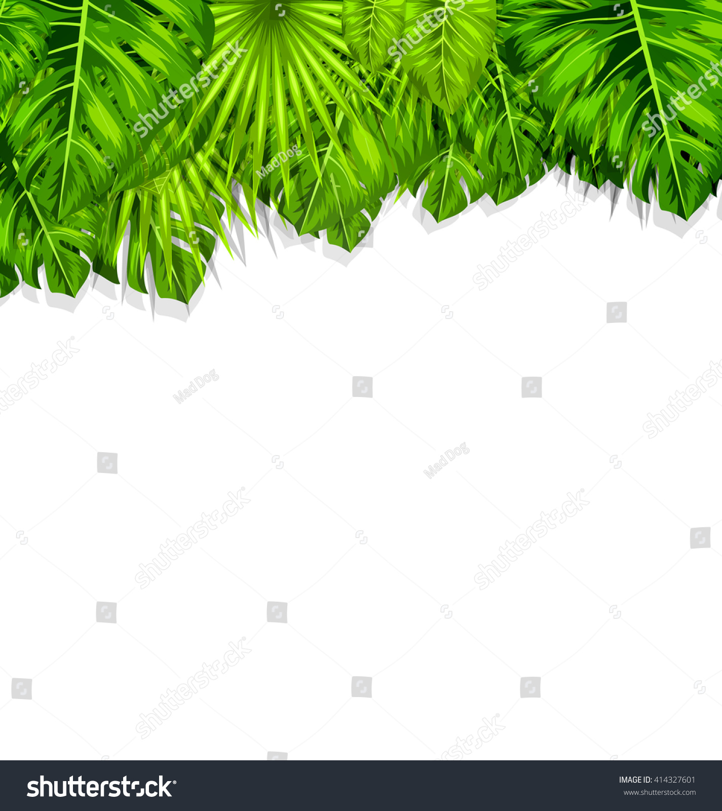 Illustration Natural Frame Green Tropical Leaves Stock Vector ...