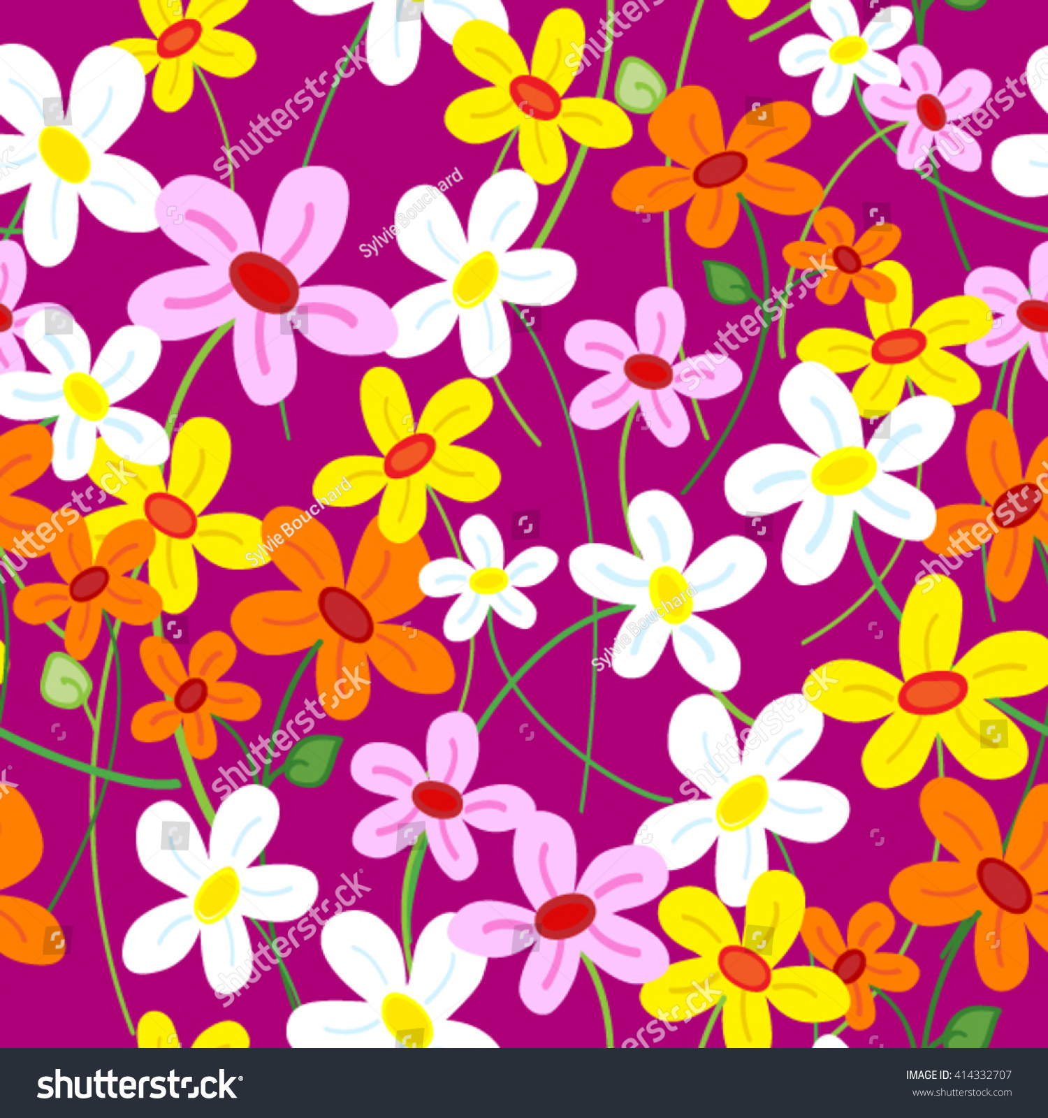 Seamless Cute Busy Daisy Flower Pattern Stock Vector Royalty Free
