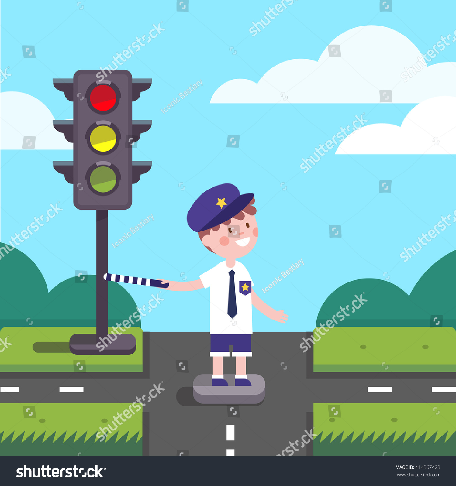 Traffic Officer Cop Kid Working On Stock Vector 414367423 ...