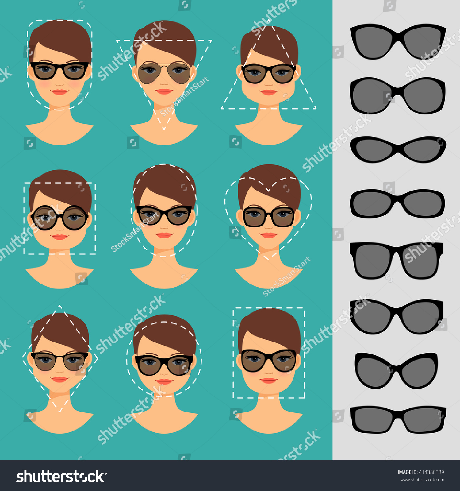 Womens Sunglasses Shapes Different Face Shapes Stock ...