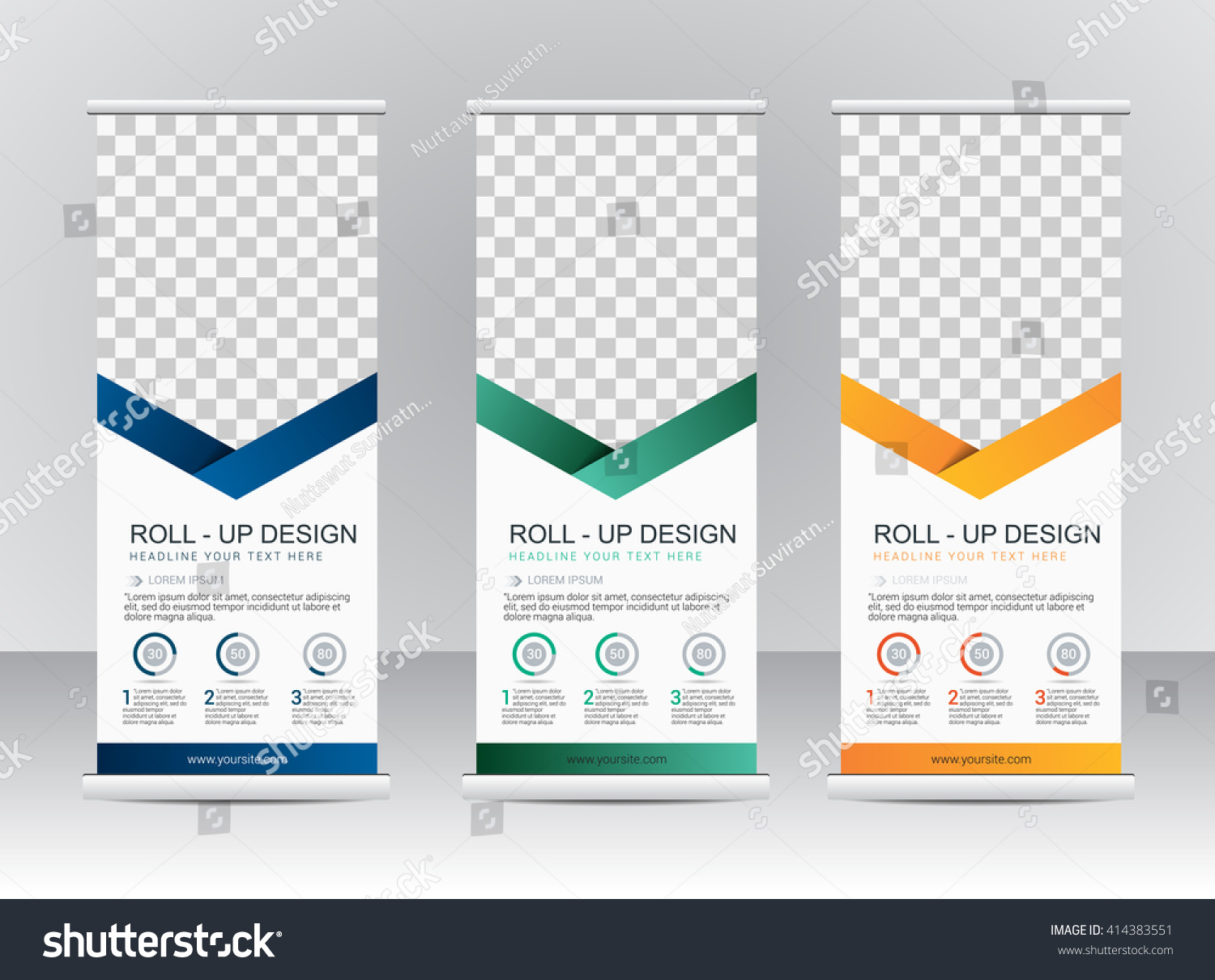 Roll up banner stand template design #414383551