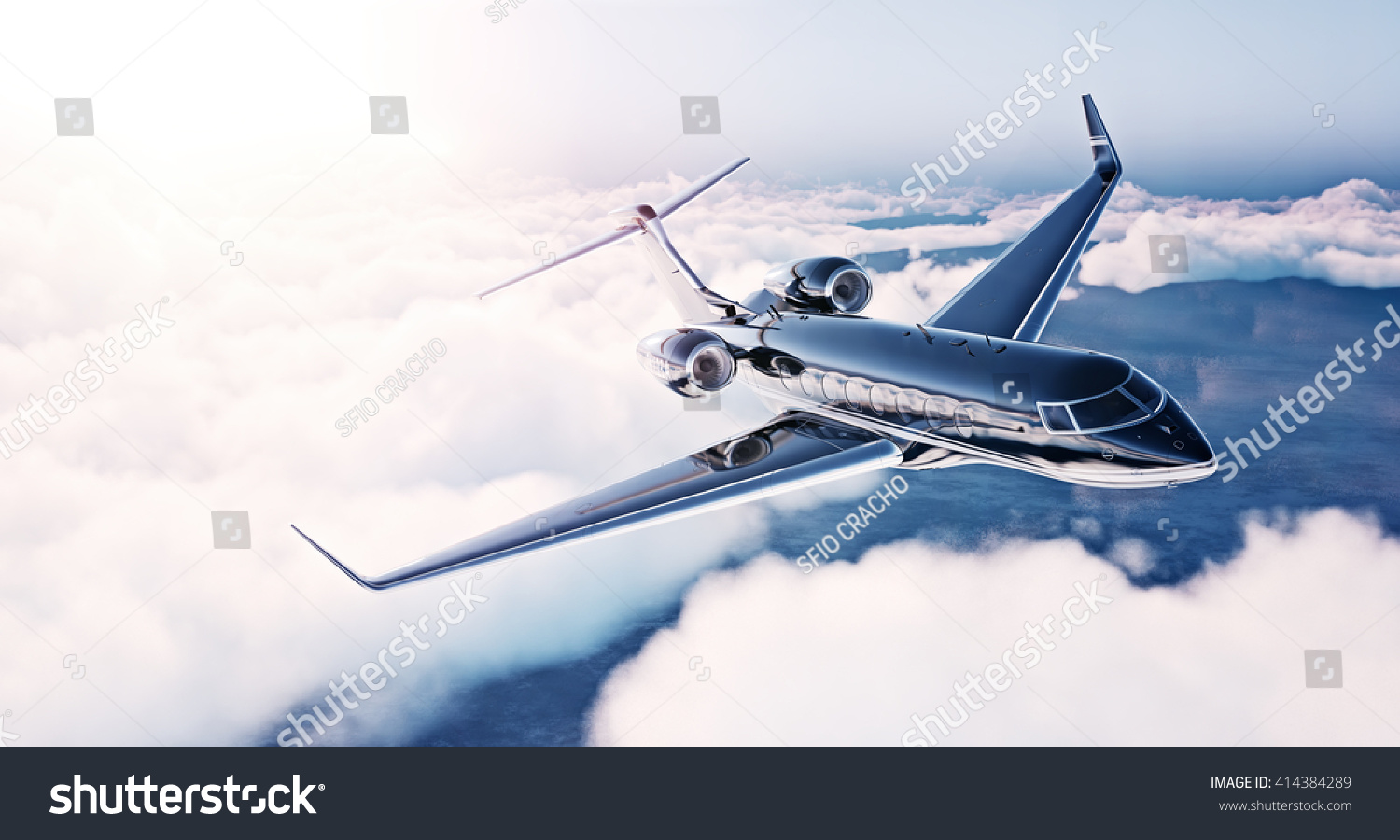 Image of black luxury generic design private jet flying in blue sky at sunrise Huge white clouds background Business travel concept Horizontal front view 3D rendering