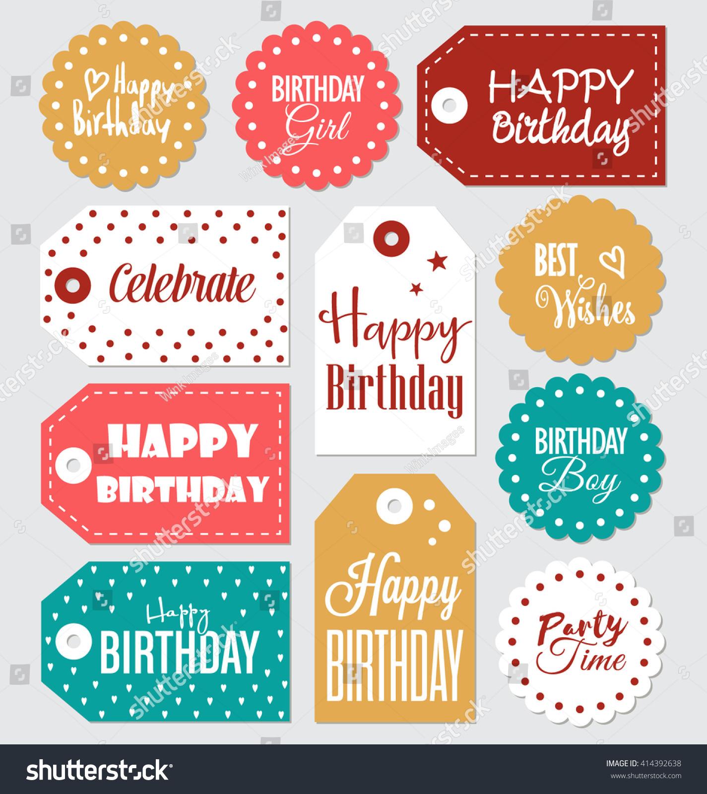image regarding Happy Birthday Tag Printable named Mounted of Birthday reward tags typographic Inventory Image 414392638