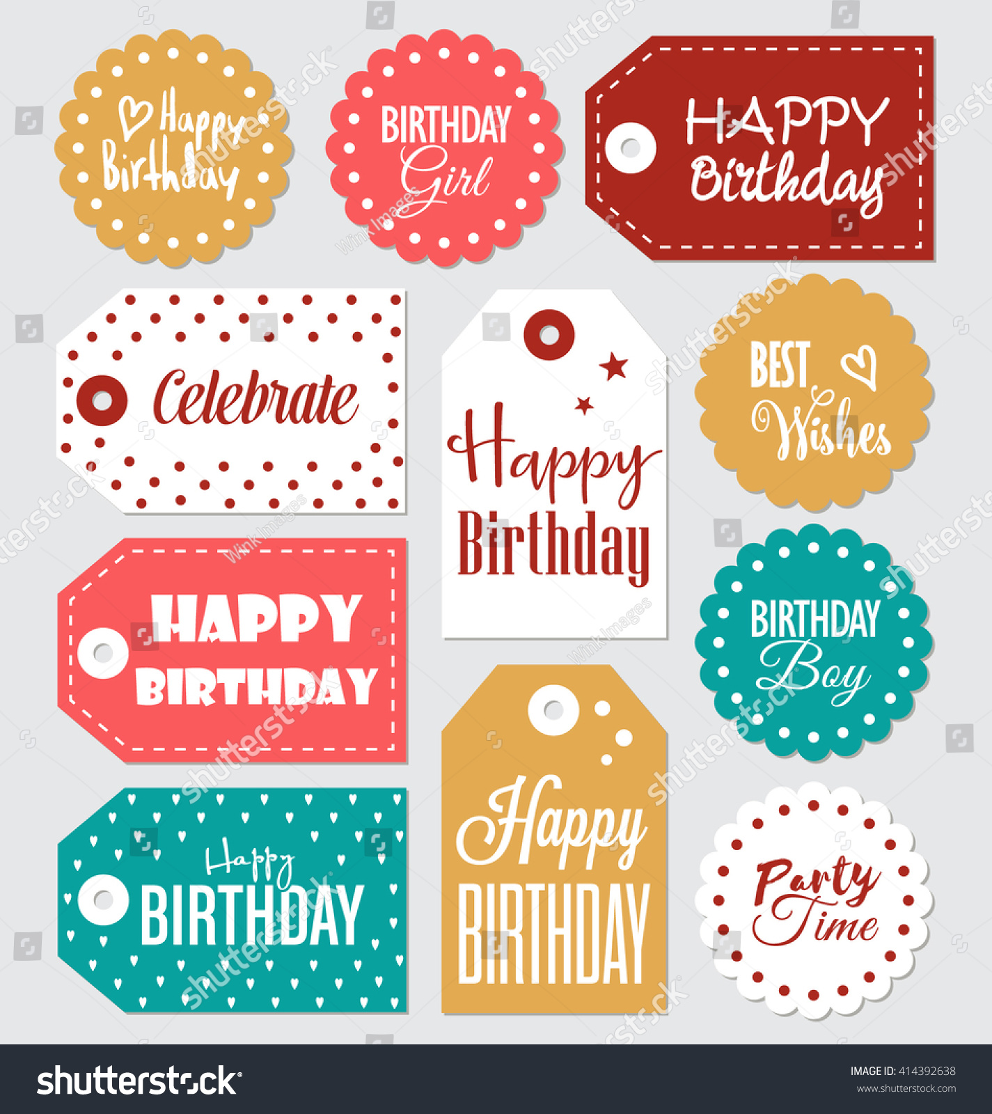 Set Of Birthday Gift Tags Typographic Vector Design With Illustrations And Wishes Happy Tamed