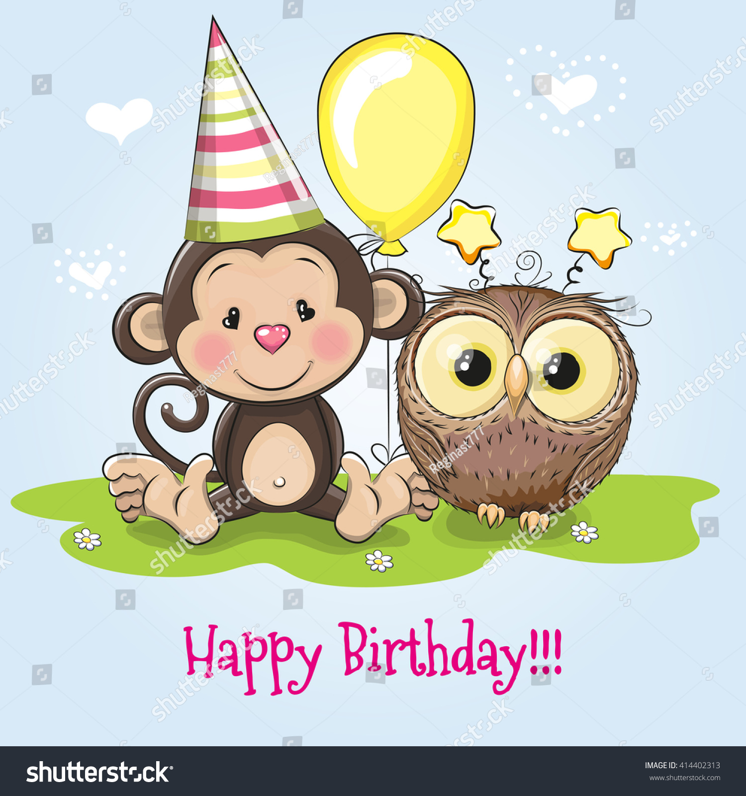 Greeting Birthday Card Monkey Owl Stock Vector