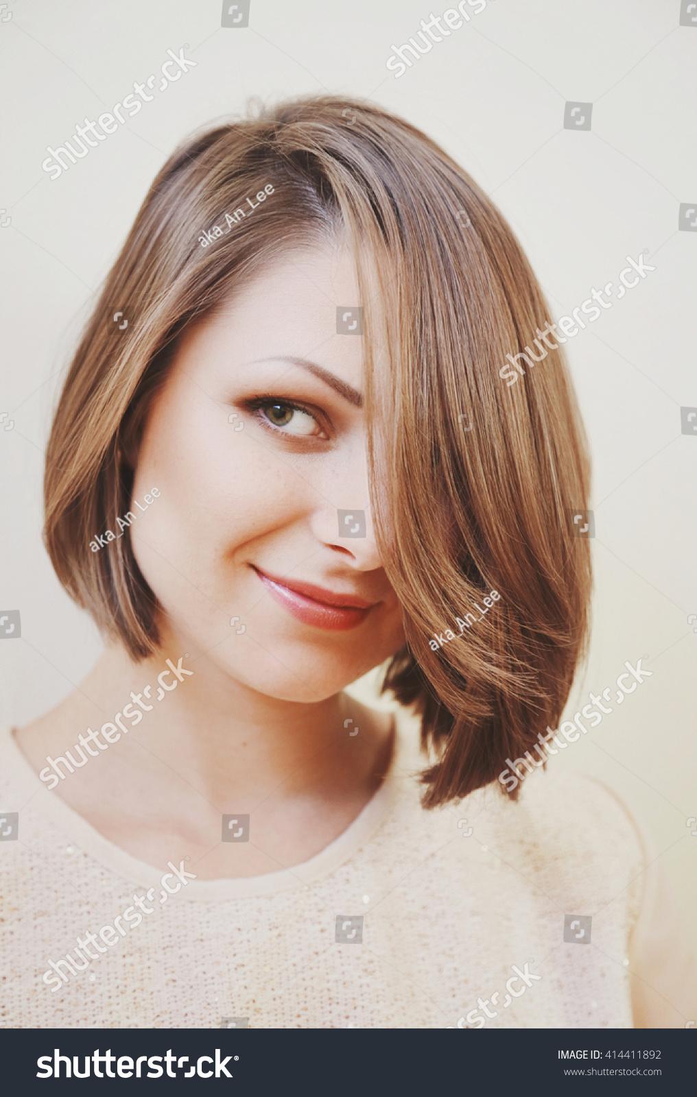 Young Beautiful Brunette Bob Haircut Smiling Stock Photo Edit Now
