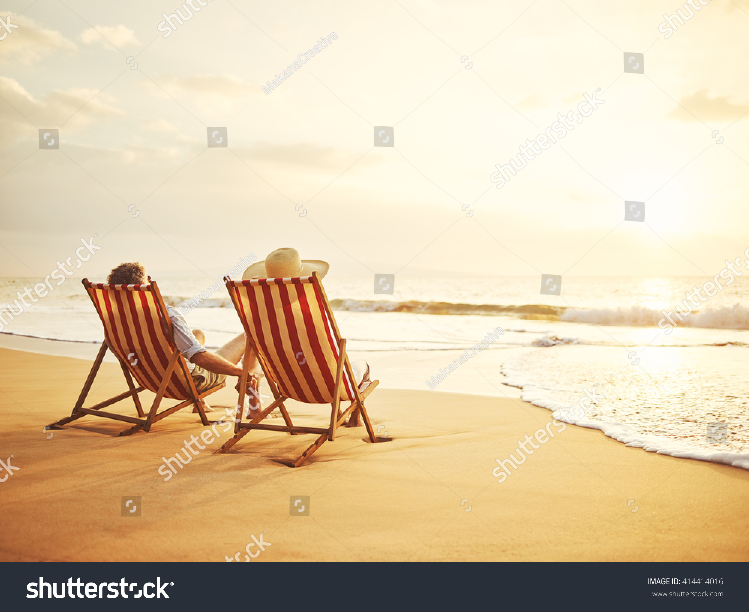 Retired Couple Watching Sunset Vintage Beach Stock Photo Edit Now 414414016