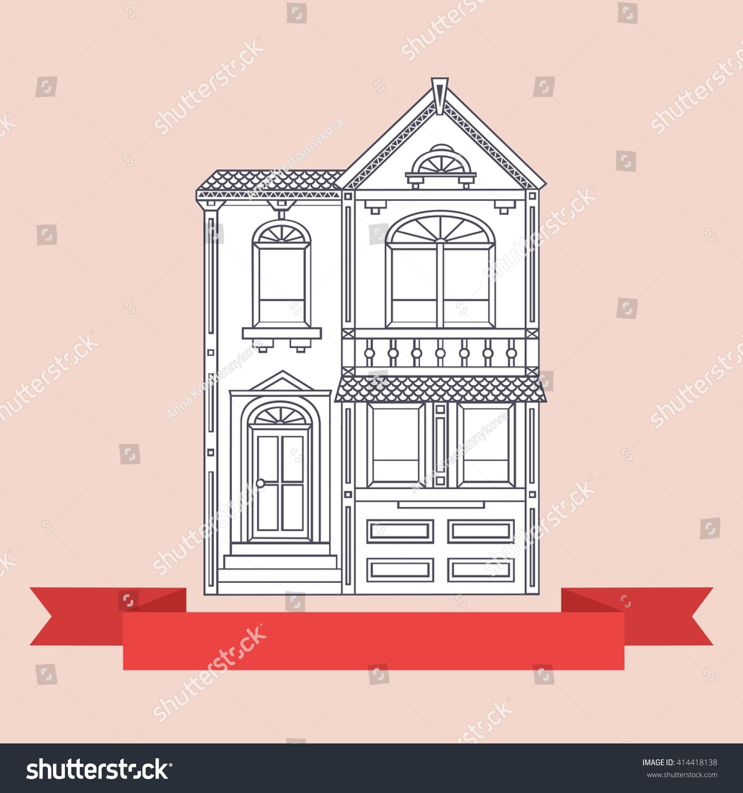Two Story Victorian Style House Simple Vector Illustration