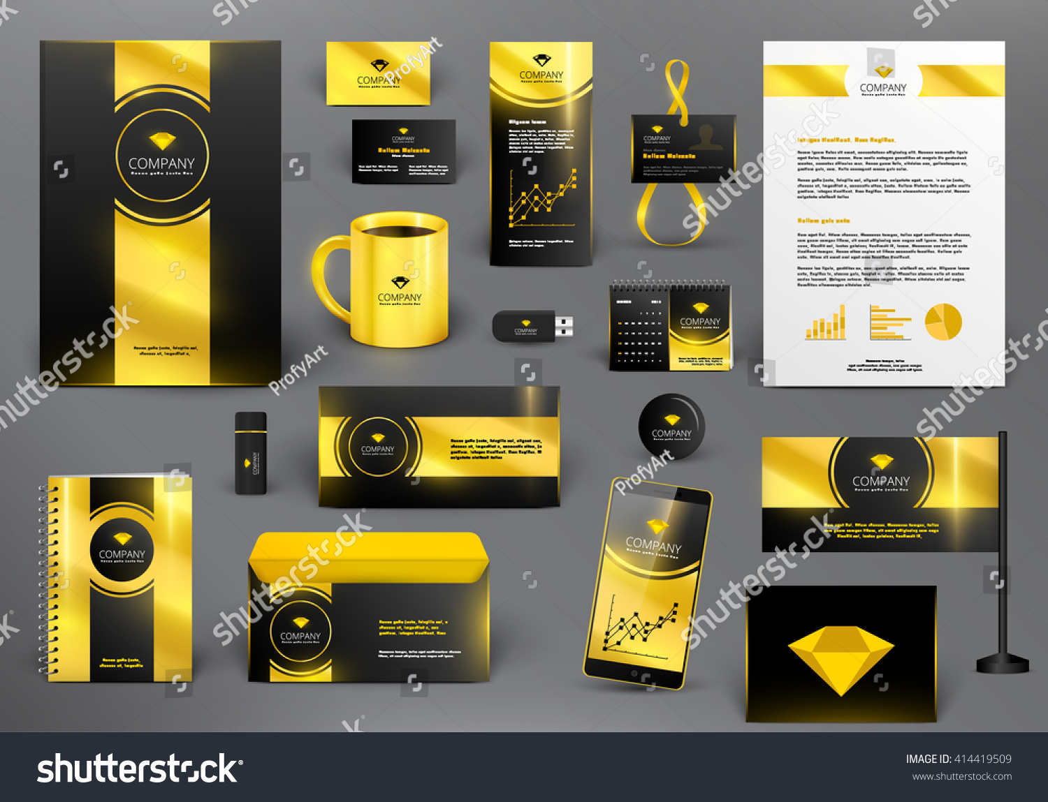 Professional Luxury Branding Design Kit For Jewelry Shop Golden Style Premium Corporate
