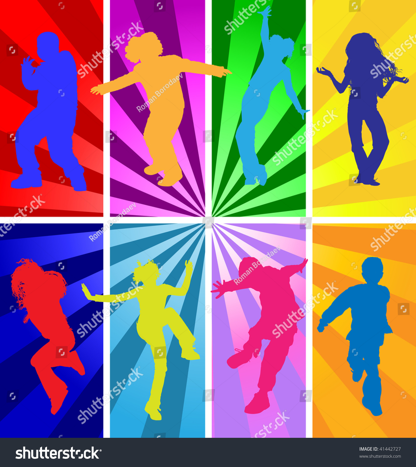 Kids Disco Dance Children Party Vector Silhouette Jumping Background Images People Dancing