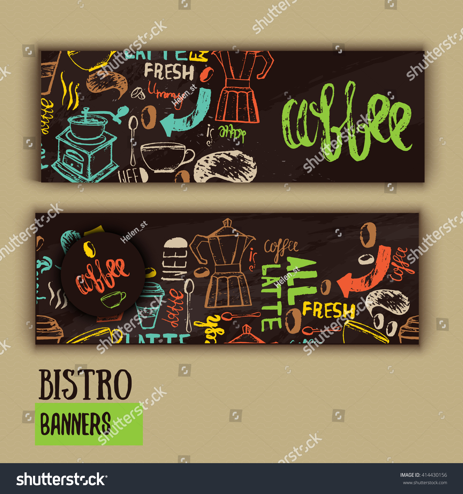 Cafe Banner Template Design Lettering Coffee Stock Vector Royalty Free 414430156
