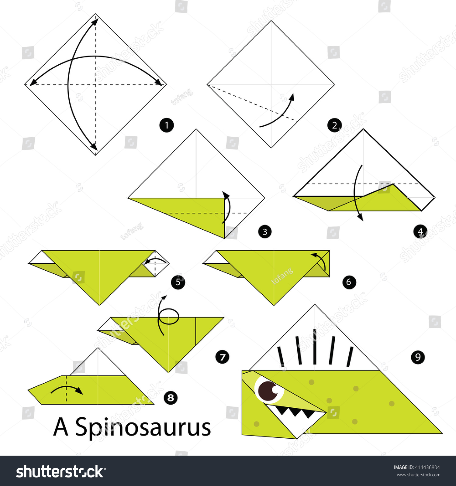 Step By Instructions How To Make Origami A Dinosaur