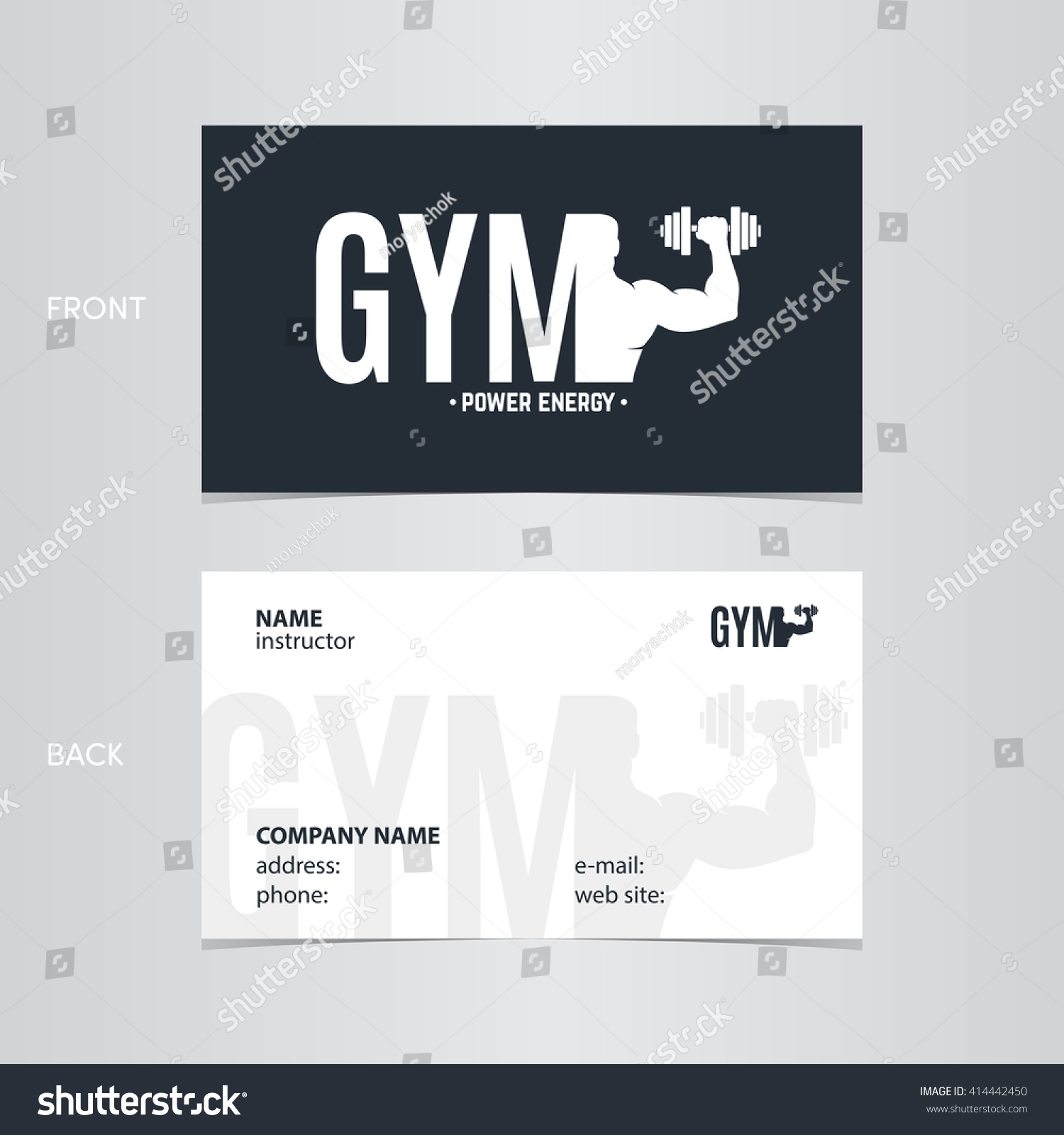 Business Card Gym Man Fitness Sport Stock Vector 414442450 ...