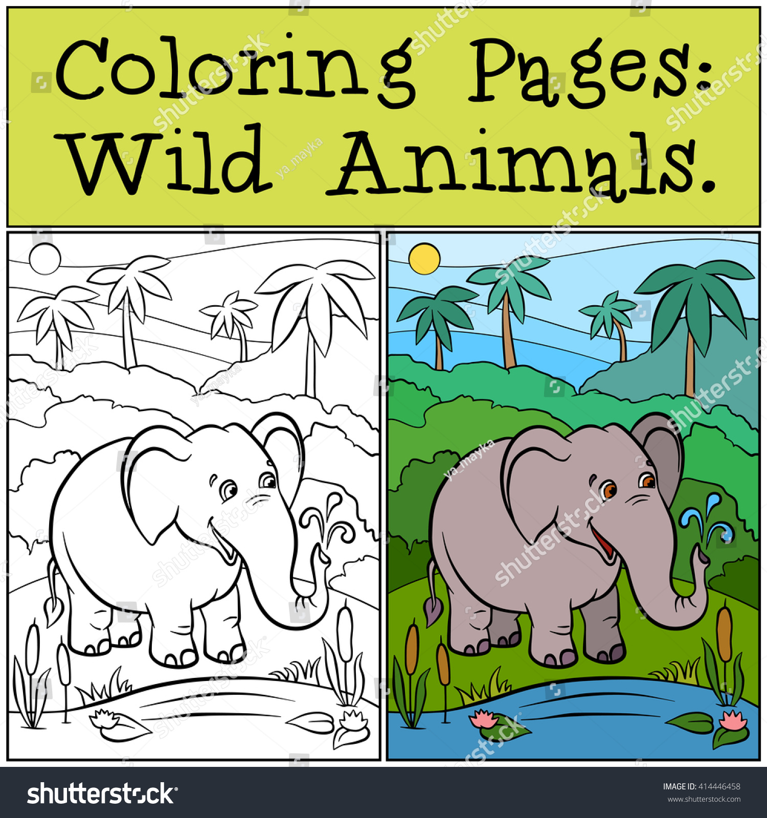 Coloring Pages Wild Animals Cute Elephant Stock Vector 414446458 ...