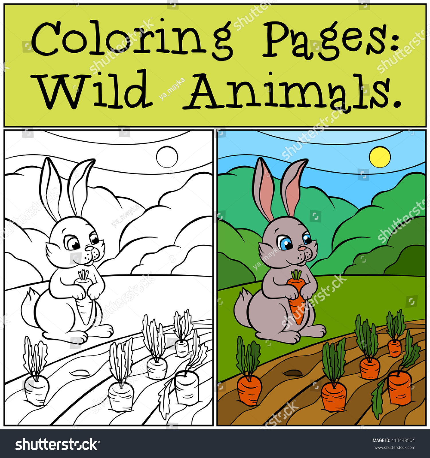 Coloring Pages Wild Animals Little Cute Stock Vector 414448504 ...