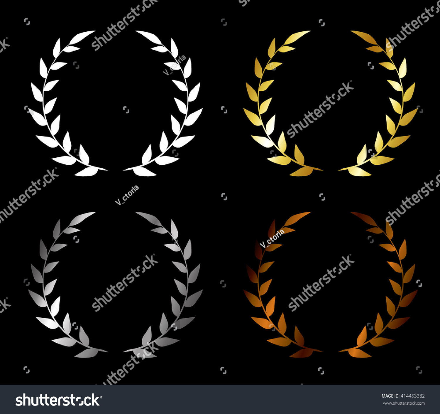 Of Wreaths Vector Set Wreaths Golden Award Silver Stock Vector 414453382