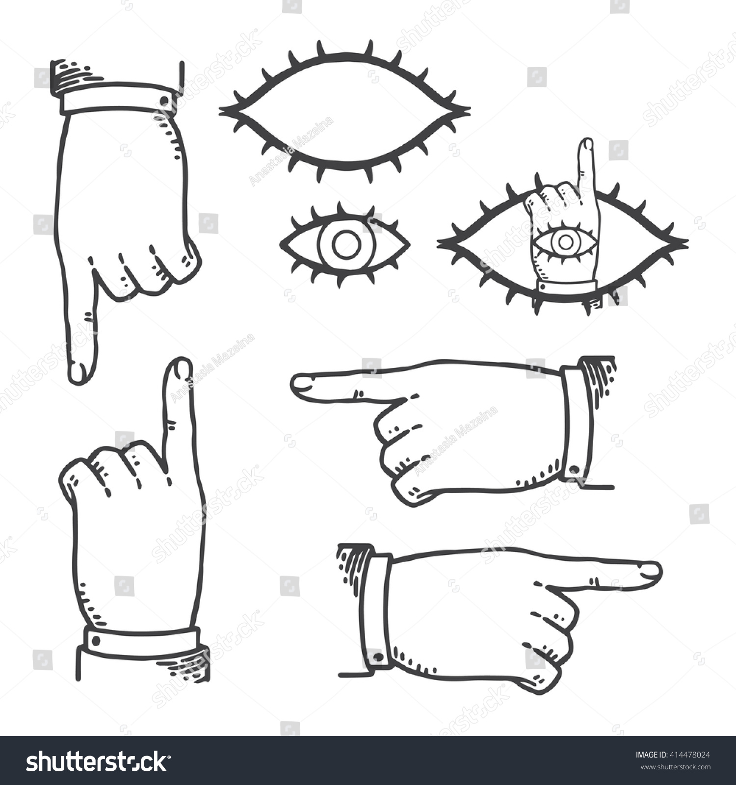Set vintage hands pointing finger retro stock vector 414478024 set of vintage hands with pointing finger retro styled design elements eye of providence biocorpaavc Gallery