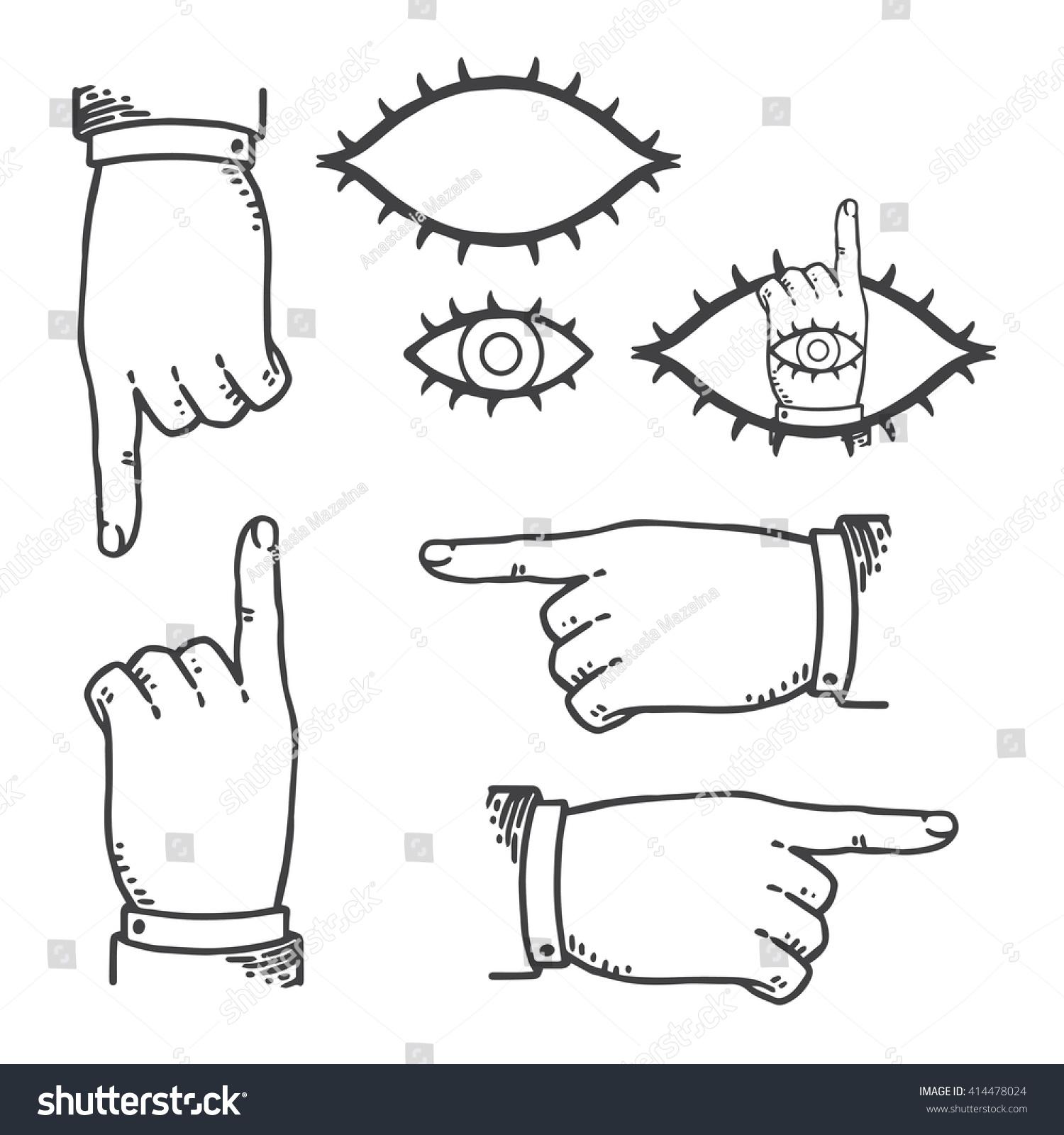 Set Vintage Hands Pointing Finger Retro Stock Vector 414478024