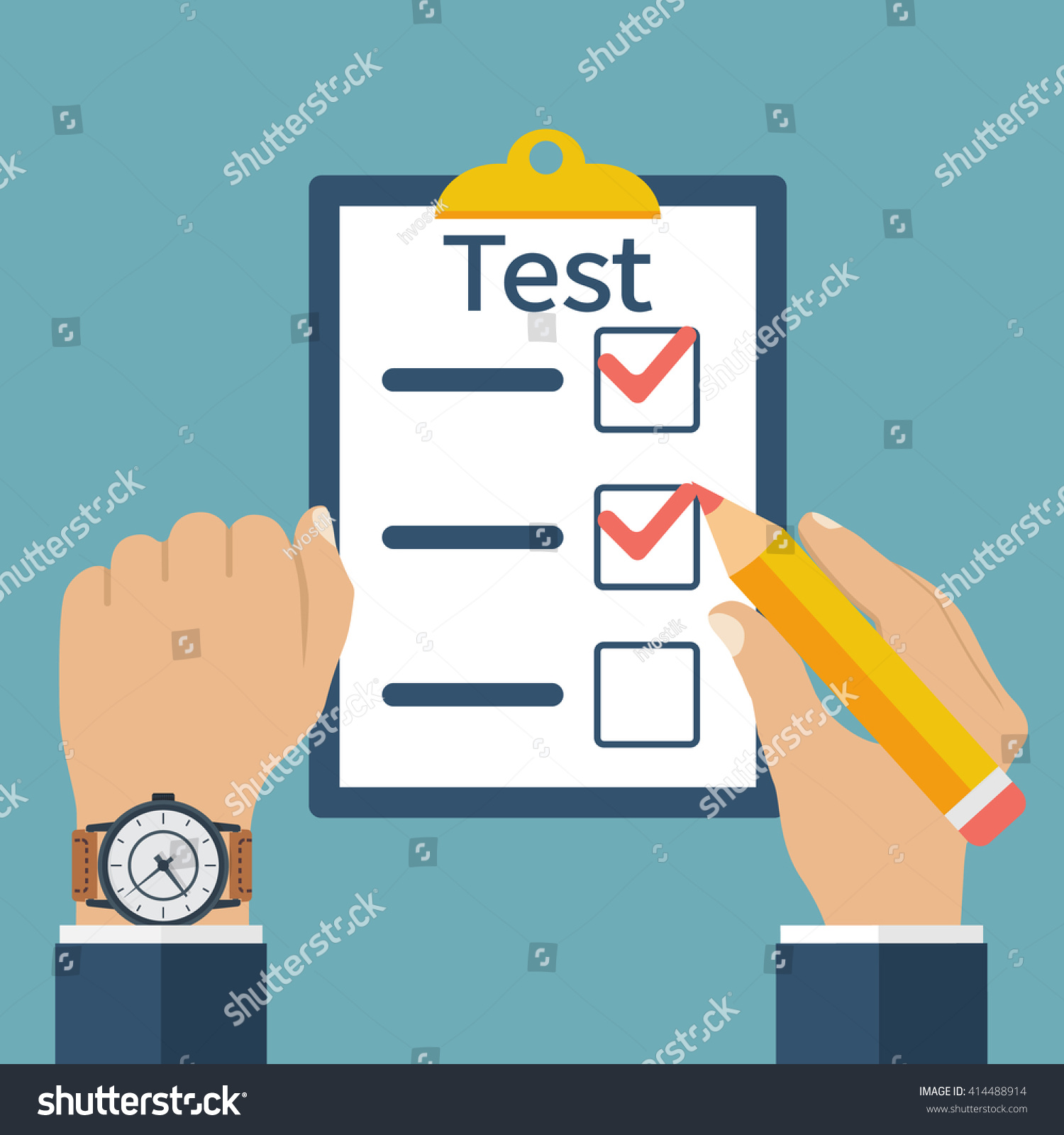 Hands of man with clock and pencil concept test at time Vector illustration flat design competitive basis Filling writing tests Exam on time Checklist survey Filling out forms