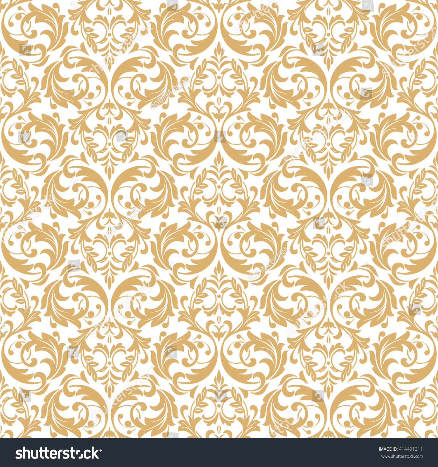 Floral Pattern Wallpaper Baroque Damask Seamless Vector Background White And Gold Ornament