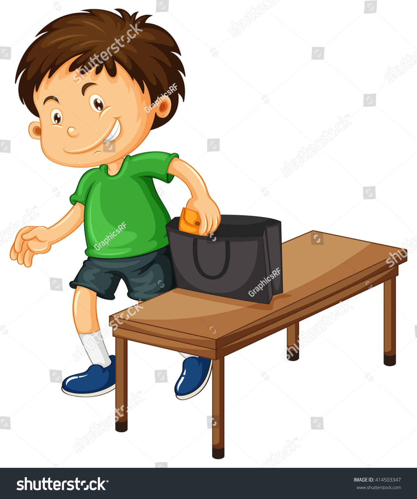Boy Stealing Things Purse Illustration Stock Vector ...