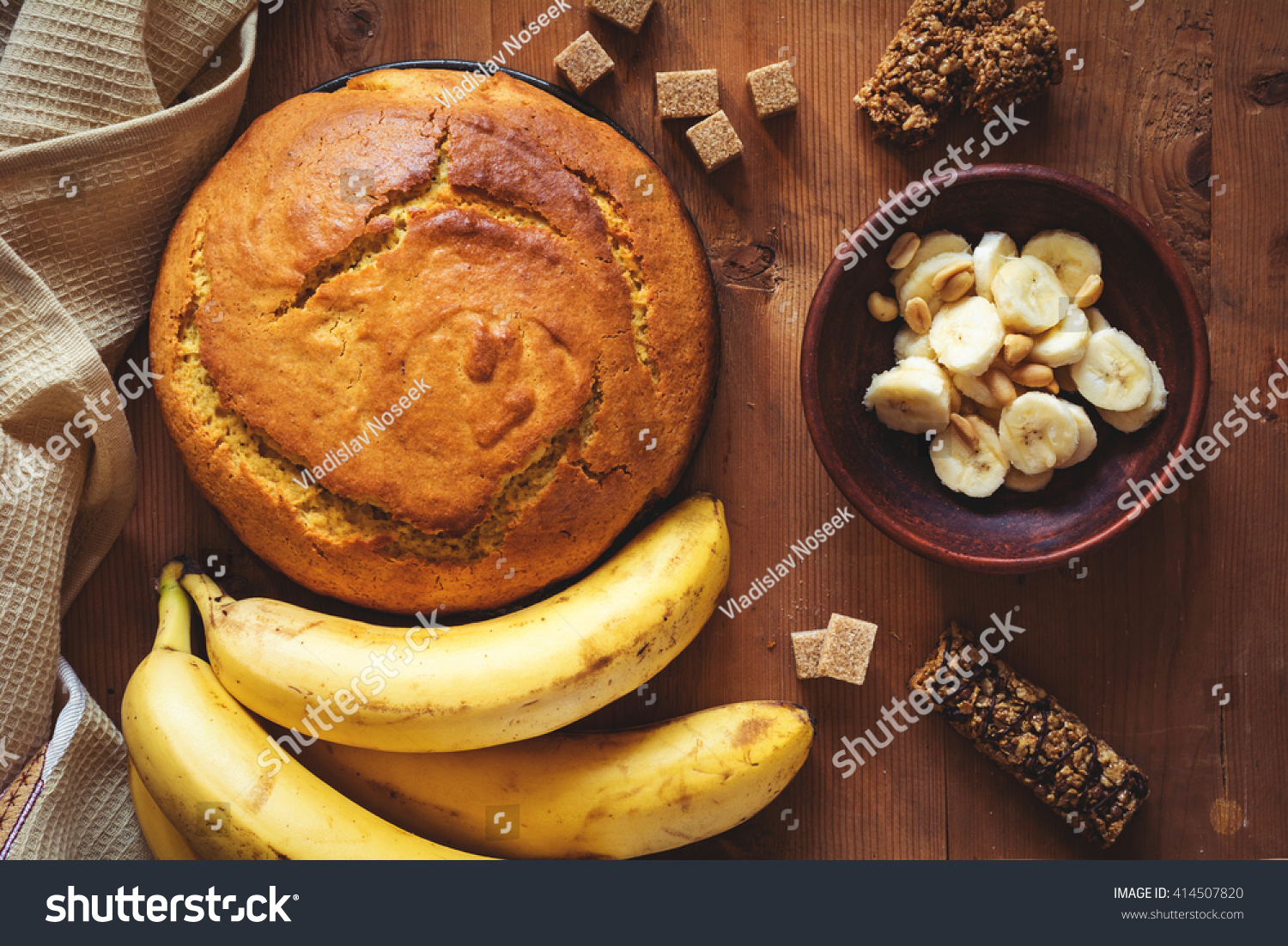 Round Loaf Freshly Baked Banana Bread Stock Photo Edit Now 414507820
