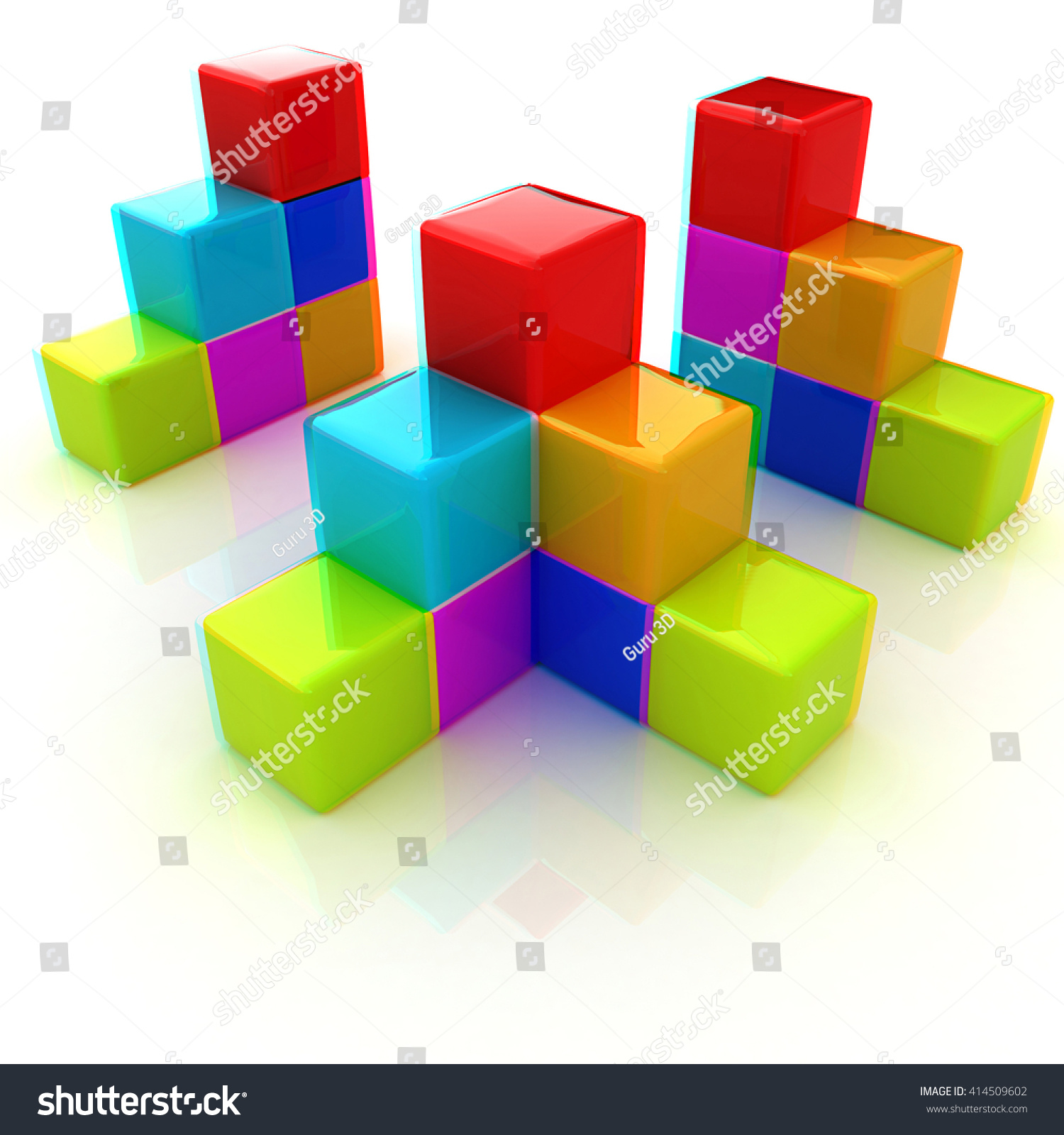 colorful block diagram. 3D illustration. Anaglyph. View with red/cyan  glasses to