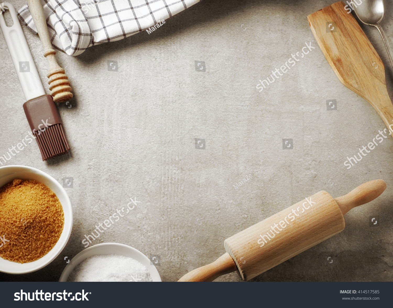 Kitchen Table Top Background top view kitchen table baking utensil stock photo 414517585