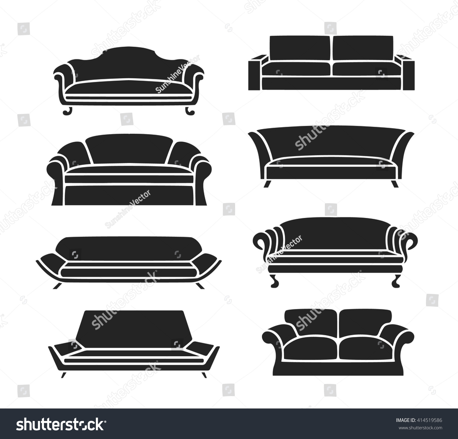 Sofa Icons Set Classic Sofas Modern Stock Vector