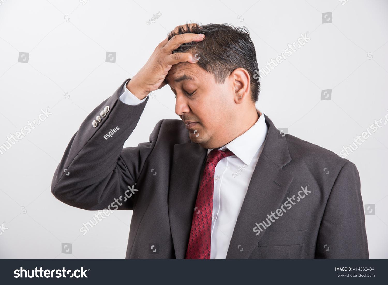 Indian Asian Businessman Black Suit Having Severe Stock Photo Edit