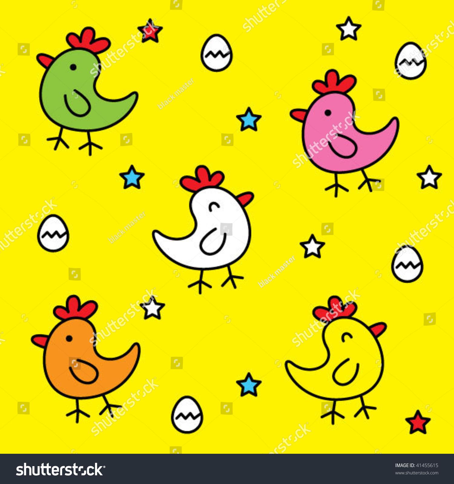 Cute Chicken Wallpaper Stock Vector 2018 41455615