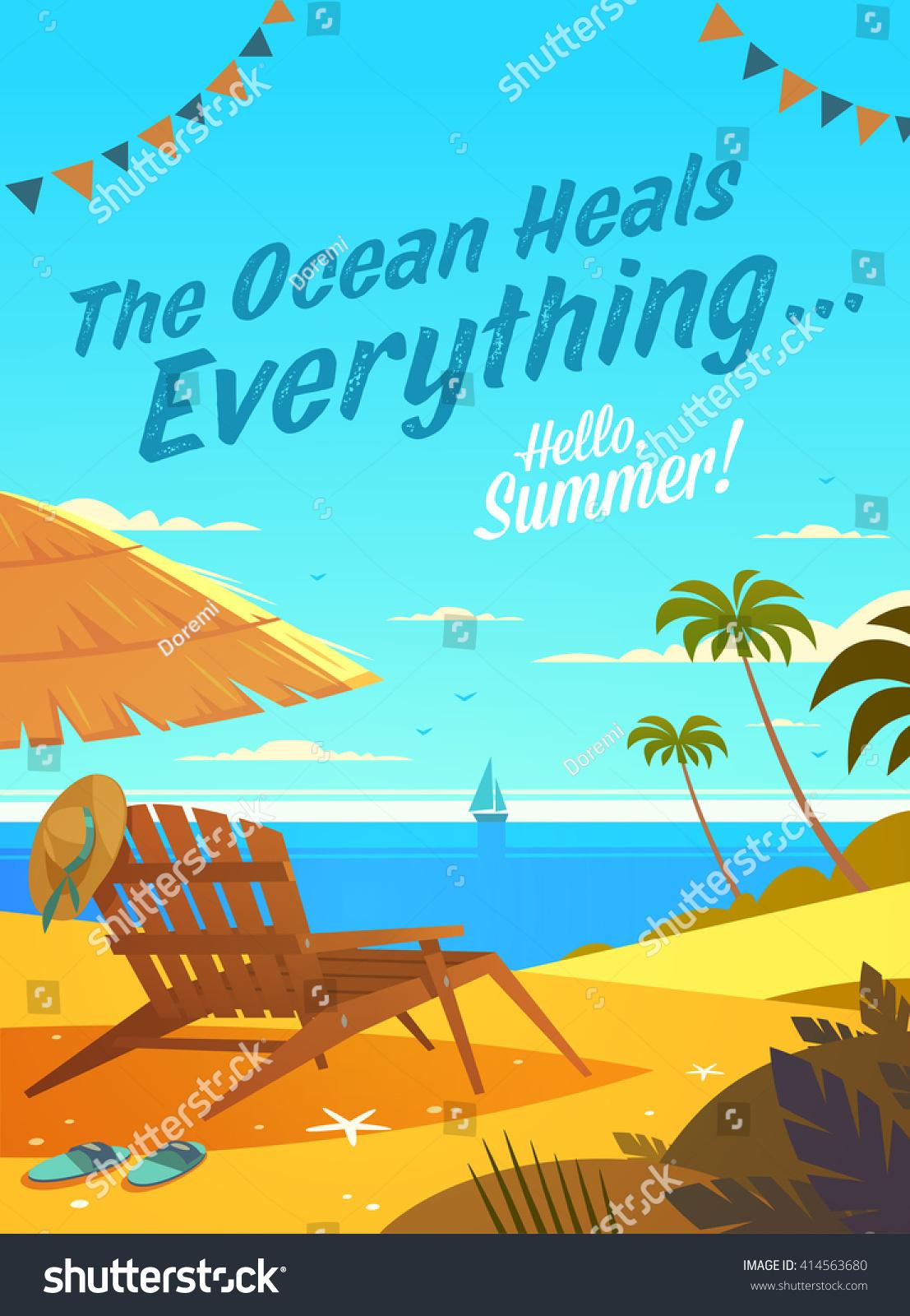 ocean heals everything summertime quote summer stock vector royalty