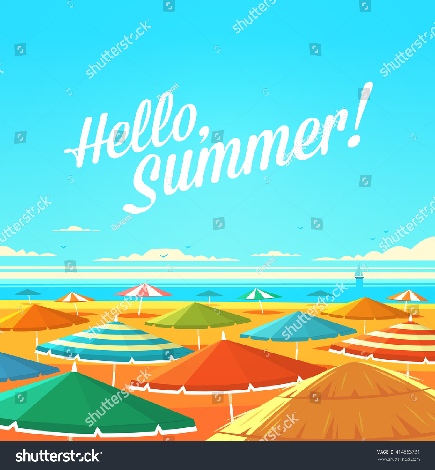 Hello, Summer! Summertime Quote. Summer Holidays Poster, Background With  Sandy Beach Full