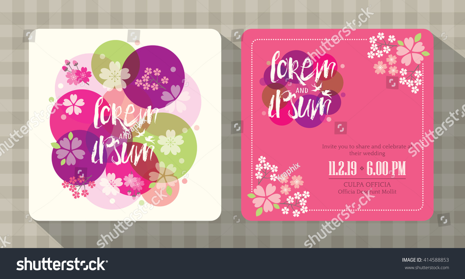 floral cherry blossom wedding invitation card stock vector 414588853 shutterstock. Black Bedroom Furniture Sets. Home Design Ideas