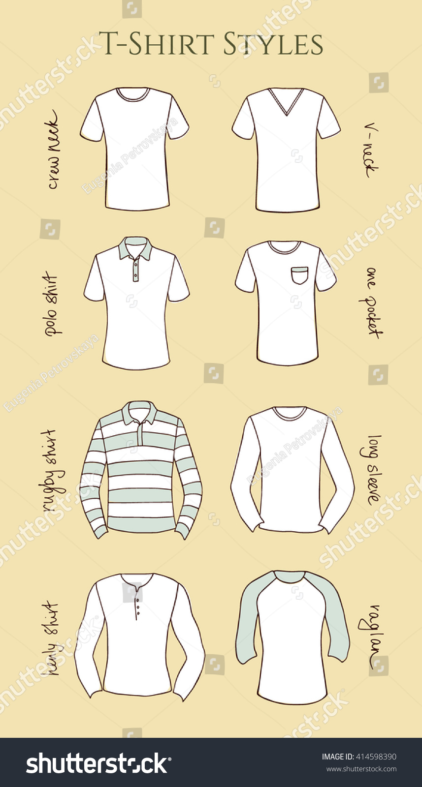 Shirt design types - Vector Visual Guide Of Male T Shirts Styles Vector Illustration Of Hand Drawn T