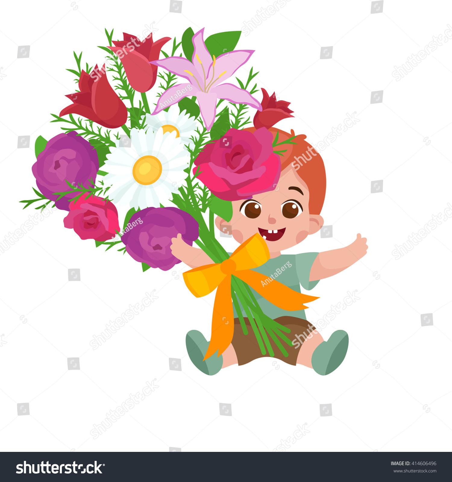 Cartoon Happy Baby Boy Festive Bouquet Stock Vector Royalty Free