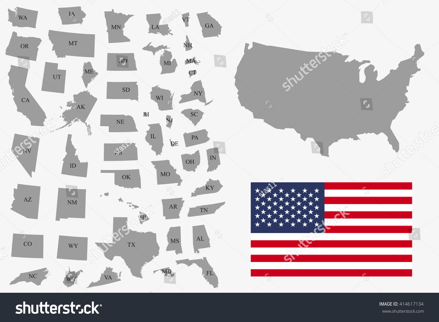 set of gray usa states on white background vector