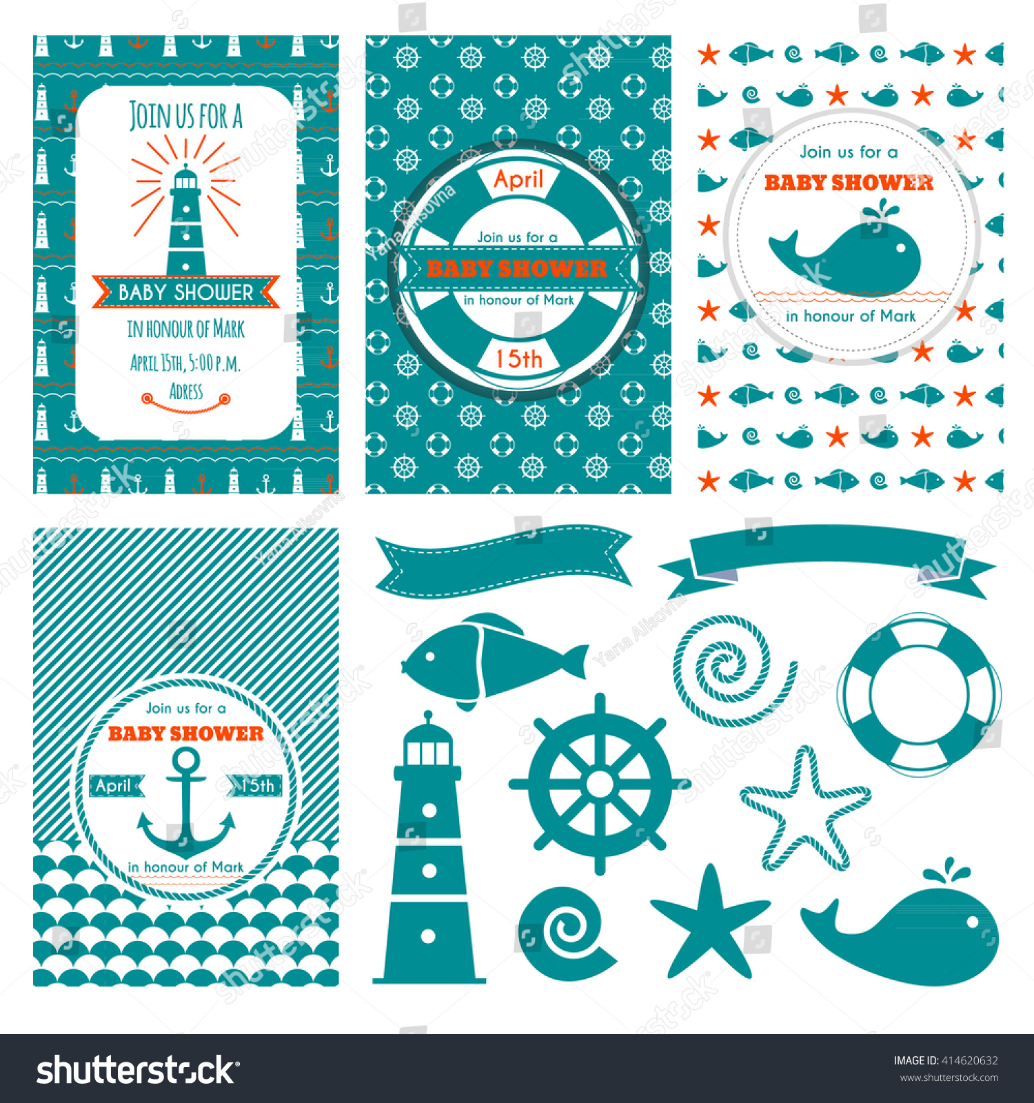 Nautical Baby Shower Cards Sea Theme Stock Vector 414620632 ...