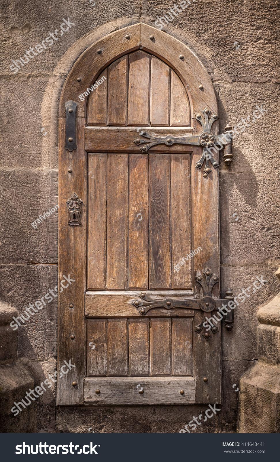 Ancient Wooden Door Stone Castle Wall Stock Photo 414643441 ...