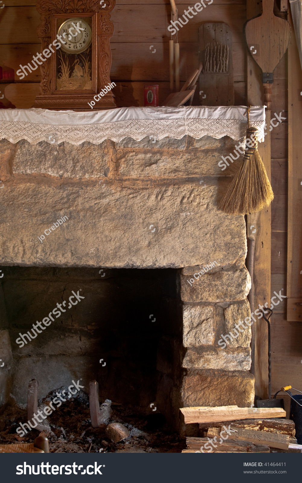 Old Fashioned Fireplace Antique Tools Stock Photo 41464411