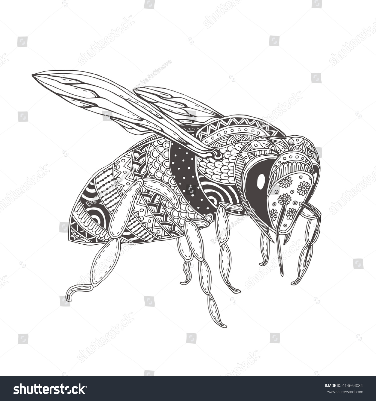 bee handdrawn honeybee ethnic floral doodle stock vector 414664084