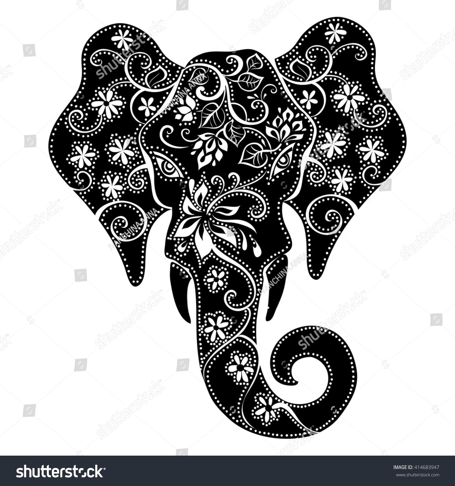 Elephant Mask Silhouette Elephant Indian Elephant Stock Vector ...