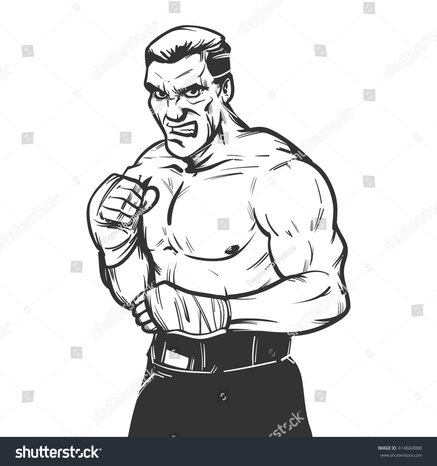 Angry Boxer Model Symbol Badge Sport Stock Vector Royalty Free